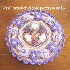 Quirky clock pattern. Crochet pattern. PDF instant download by PollyKrafts, £2.50