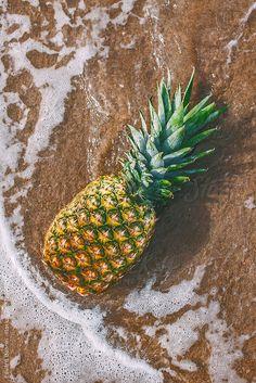 Pineapple on the beach. Summer time. by Eduard Bonnin