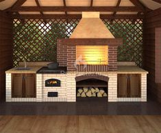 ideas exterior brick design fireplaces for 2019 Backyard Kitchen, Outdoor Kitchen Design, Backyard Patio, Barbeque Design, Grill Design, Parrilla Exterior, Outdoor Grill, Outdoor Barbeque Area, Brick Grill