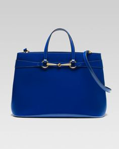 Bright Bit Large Leather Tote, Sapphire by Gucci at Neiman Marcus.