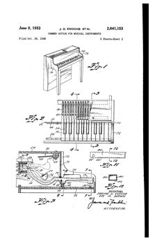 1953 J.D. Enochs et al Patent US2641153 - Hammer action for musical instruments particularly the toy piano. Assigned to Jaymar.