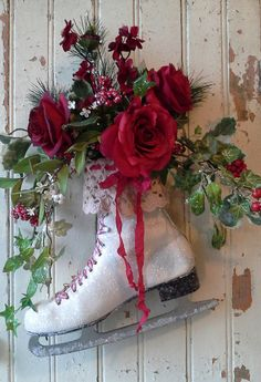 Ice Skate Christmas Ice skate Christmas Wreath Christmas by 6miles, $46.00