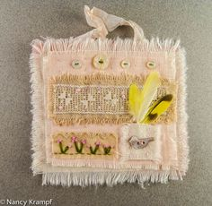 """Mini Art Quilt """" French Knott Buds and Feather Picnic"""""""