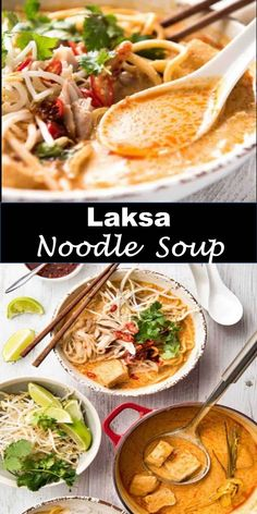 Delicious and healthy family choice special food and drink Laksa Noodle Soup This is a recipe for a real Malaysian restaurant quality laksa . Best Vegan Recipes, Asian Recipes, Vegetarian Recipes, Healthy Recipes, Ethnic Recipes, Indonesian Recipes, Laksa Soup, Curry Laksa, Singapore Laksa Recipe