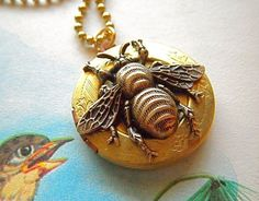 Bee Necklace Vintage Locket Round Brass Rustic by CosmicFirefly, $28.00