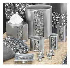 1000 images about ideas for my bathroom on pinterest for Black bling bathroom accessories