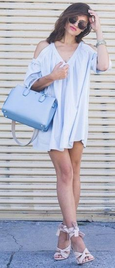 #summer #feminine #style  #outfitideas |  Baby Blue + Pop Of Blush