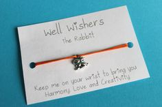 ♥ The message on the card is inspired by the charm and what it symbolises. For example : The Rabbit Bracelet - Keep me on your wrist you bring you Harmony, Love and Creativity. Wish Bracelets, Travel Gifts, Bridesmaid Gifts, Party Favors, Insects, Rabbit, Birthdays, My Etsy Shop, Creativity