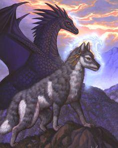 Let Me Help Dragon and Wolf fantasy art by Susan Van Camp  <3 <3
