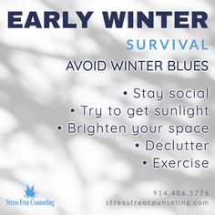 """People can get """"winter blues,"""" or seasonal affective disorder, possibly due to winter's decrease in sunlight. Symptoms include being depressed, lost interest, low energy, and trouble sleeping. Get sunlight when you can and don't forget to exercise! Dealing with anxiety and depression in Westchester and Putnam County, NY? Call Stress Free Counseling, Chris Colasuonno at (914) 486-5776 to schedule a session. Putnam County, Winter Survival, Westchester County, Deal With Anxiety, Trouble Sleeping, Stress Free, Depressed, Disorders, Counseling"""