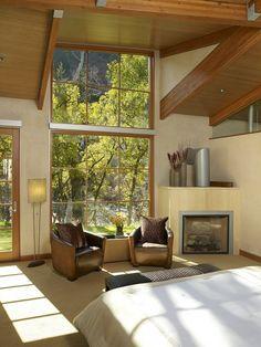 Getty Residence, photo by Jason Dewey Natural Wood Trim, Oak Trim, Exposed Beams, Contemporary Bedroom, Mid-century Modern, Master Bedroom, Sweet Home, Windows, Living Room