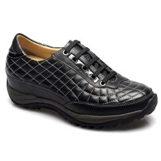 Black Waxed Leather Men's Tall Casual Shoes For Height; Model :122A102; Height : 6cm (2.36 inch); Sale: $89.00