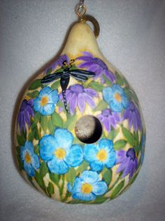 Dragonflies, Coneflowers Flower Garden Painted Gourd birdhouse Mother's Day