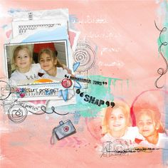 A artsy scrapbook page talking about childhood friendship with Snapp Happy   Dawn Inskip  Scrapbook page Artsy watercolour paperstack photo Clindoeildesign clin d'oeil design