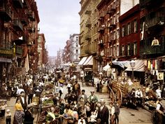 Between 1870 and 1915, New York's population tripled — surging from 1.5 million to 5 million residents. In this 1900 photo, Italian immigrants crowd the Lower East Side's Mulberry Street.