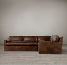 "Belgian Slope Arm Leather Customizable Sectional in Italian Berkshire ""Chestnut"" color"
