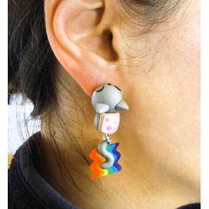 Nyan Cat Bite Ears, earrings,pendientes,comeorejas,gato,cat,fimo