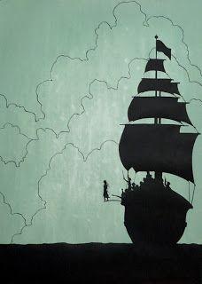 Peter Pan walking the plank of Hook's pirate ship. Art Disney, Disney Kunst, Disney Love, Jm Barrie, Instalation Art, Walking The Plank, Pirate Life, Pirate Art, Pirate Ships