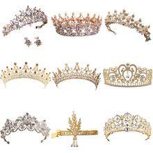2017 Venda Quente de Ouro de Cristal Da Tiara Para O Casamento Acessórios Para o Cabelo Da Princesa Coroa de Strass Jóia Do Cabelo de Noiva Do Casamento da Rainha alishoppbrasil
