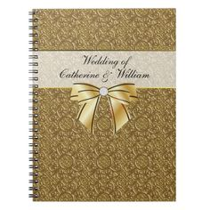 Simple Gold Elegance Wedding Guest Sign In Note Books
