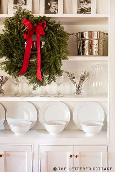Talk of the House dining room cabinet at Christmas