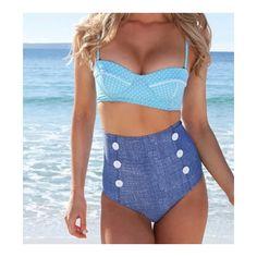 Swimwear Swimsuit Bikini Vintage High Waist Point blue point S Bikinis Retro, Retro Swimwear, Bikini Swimwear, Swimwear 2015, Swimwear Sale, Summer Swimwear, Bikini Vintage, Bikini Bleu, Blue Bikini