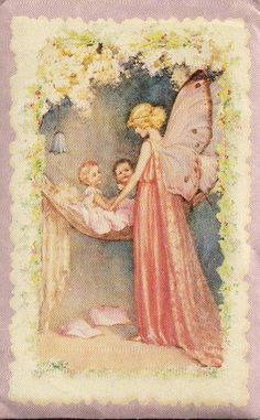 Mother's Day thoughts.  This image is from a tiny paper sachet that's been hanging on my Inspiration Board for some time.  I wish I knew the source.  It gives me mixed feelings.  The happy attention of the babies, the glowing peace, warmth, and grace of the fairy...beautiful.  But then I just become wistful.  I want to be this way, but moments like this are only perhaps a few minutes per year.  And I don't know why.
