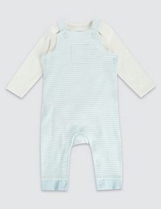 2 Piece Pure Cotton Striped Dungaree Outfit  £12.00  Marks and Spencer
