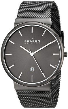 Shop for Skagen 'Ancher' Men's Gunmetal Ion Plated Stainless Steel Watch. Get free delivery On EVERYTHING* Overstock - Your Online Watches Store! Skagen Watches, Big Watches, Best Watches For Men, Casual Watches, Wrist Watches, Mesh Bracelet, Bracelet Watch, Grey Watch, Watch 2