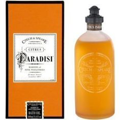 Czech & Speake Citrus Paradisi Bath Oil (100ml) by Czech & Speake. $60.00. This scented Bath Oil is made with the purest essential oils and ingredients using traditional methods. Citrus Paradisi is a strikingly fresh and infinitely wearable fine fragrance with a distinct Grapefruit oil base. An immediately invigorating burst of Californian Grapefruit is followed by subtle hints of spicy Coriander and Pepper. The citrus character of this youthful and vibrant scent is ba...