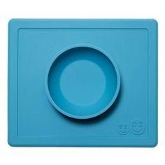 Ezpz Happy Bowl siliconen kinderplacemat blauw.