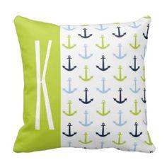 Lime Green, Light Blue, Navy, Nautical Anchors Throw Pillows - Green Throw Pillows
