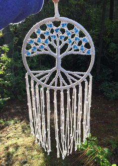 This Tree of Life macrame wall hanging is locally handmade here in Washington State. This uniquely handcrafted piece of decor adds a modern, beautiful touch to the spiritual flow of your home. Place it in your living room, bedroom window, meditation or yoga space. This macrame wall