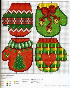Cross stitch mittens. Free pattern.