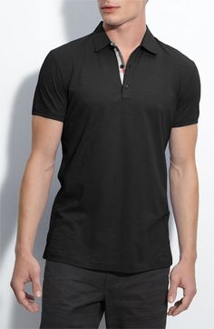 Burberry Brit Trim Fit Slub Cotton Polo available at #Nordstrom