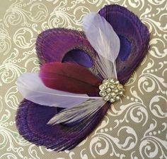 DANIELLE in Dark Purple Peacock Feather Hair Clip, Wedding