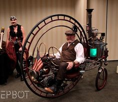 The Steampunk monocycle-type byke