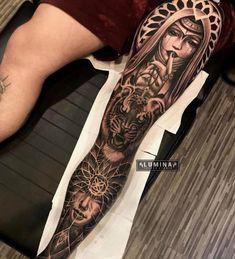 Black Sleeve Tattoo, Egyptian Tattoo Sleeve, Animal Sleeve Tattoo, Egypt Tattoo, Sleeve Tattoos, Full Leg Tattoos, Leg Tattoo Men, Foot Tattoos, Tattoo Script