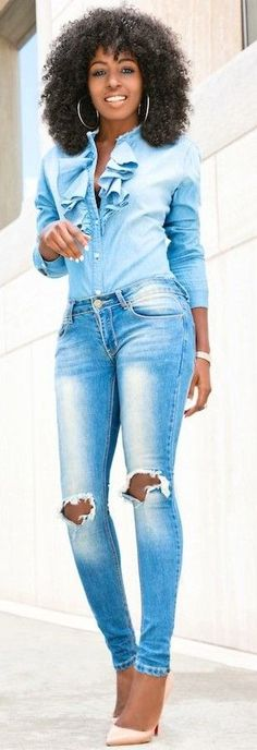 #spring #fashionistas #outfit #ideas |Ruffled denim + ripped denim | Style Pantry