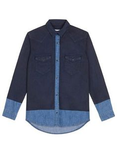 """Coline"" coated denim shirt, $320, Sandro, us.sandro-paris.com"