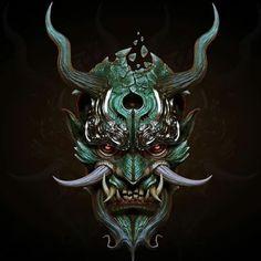 samurai oni mask fresh svein yngve sandvik antonsen cg art of samurai oni mask Samurai Maske Tattoo, Hannya Maske Tattoo, Oni Samurai, Oni Tattoo, Demon Tattoo, Image Japon, Oni Maske, Mascara Oni, Japanese Mask Tattoo