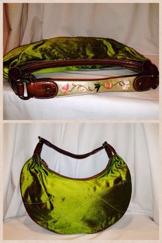 """Liz Claiborne Hobo Chartreuse Green with Cognac Leather trim & embroidered handle 17"""" high X 16"""" long.  Starting bid $18."""