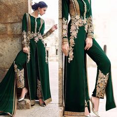 Lady in Green Standing High Party Wear Indian Dresses, Pakistani Formal Dresses, Indian Fashion Dresses, Pakistani Dress Design, Indian Designer Outfits, Pakistani Outfits, Muslim Fashion, Indian Outfits, Fashion Outfits
