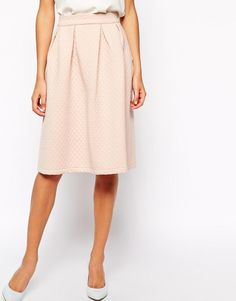 Vila | Vila Quilted A Line Midi Skirt at ASOS
