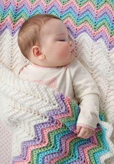 "Handmade Crocheted Ripple Afghan Baby's Christening Generous Size 34"" x 38"" ! #BernatBabyYarn"