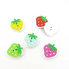 320 Pieces Sewing Clothing Buttons Sew On Wooden Wood Knopfe BB1002 Mature Strawberry Colorful Plush Lovely Accessory Decoration Handmade Cute Scrapbook Flatback DIY -- You can get additional details at the image link.