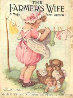 what a cute magazine cover from 1926  /  I like this cover very much.  Looks like her dollies will have clean clothes.