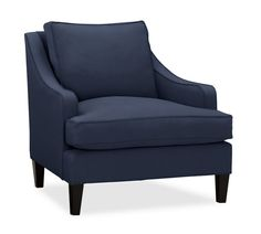 Landon Upholstered Arm Chair, Down-Blend Wrapped Cushions, Twill Cadet Navy