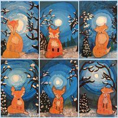 Art Room Britt: Winter Fox with Moonlit Sky Art Room Britt: Winterfuchs mit Mondhimmel Animal Art Projects, Winter Art Projects, School Art Projects, Art Projects For Adults, Clay Projects, Art Lessons For Kids, Art Lessons Elementary, Landscape Art Lessons, January Art