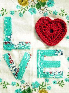 Fabric and crochet Love heart